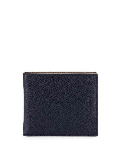 Bonett Leather Single-Fold Wallet, Blue