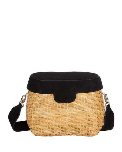 Jane Suede & Straw Basket Crossbody Bag, Black