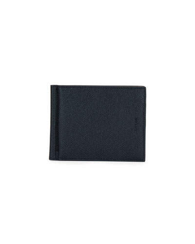Men's Leather Wallet with Money Clip, Black