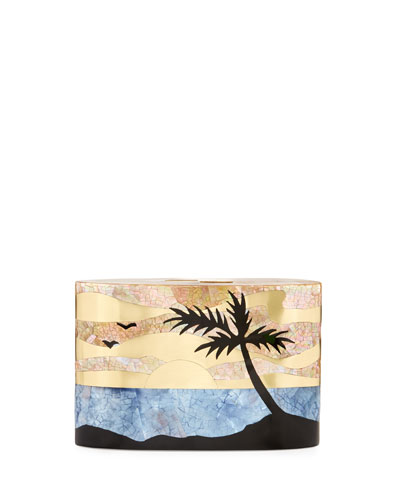 Andra Flask Minaudiere, Sunset (Gold/Blue/Black)