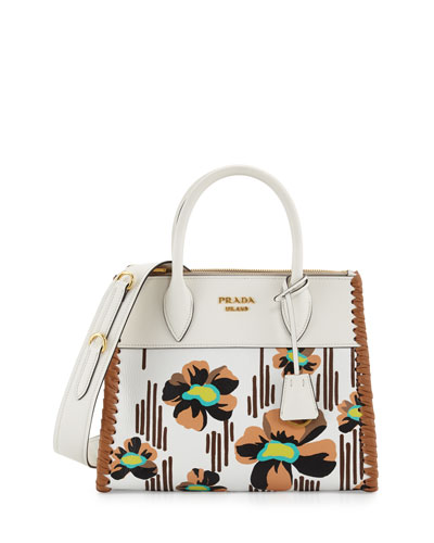 Small Floral-Printed Madras Paradigm Whipstitch Tote Bag, White/Brown ...