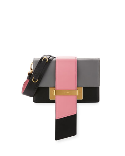 Metal Ribbon Clutch Bag, Gray/Pink