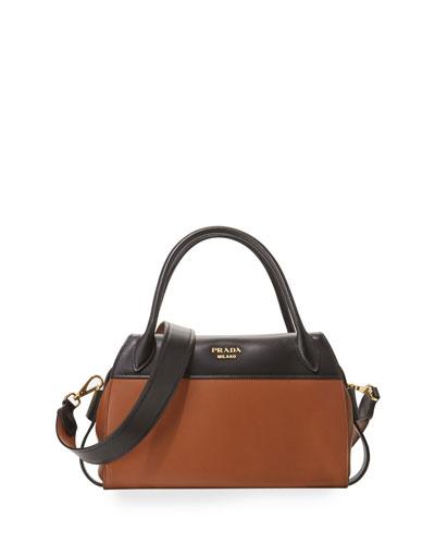 Bicolor Double-Handle Bauletto Bag