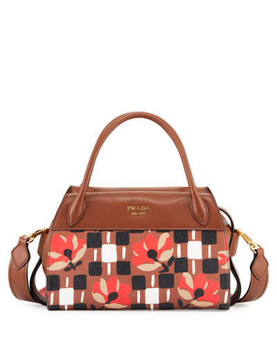 Floral Double-Handle Bauletto Bag, Brown