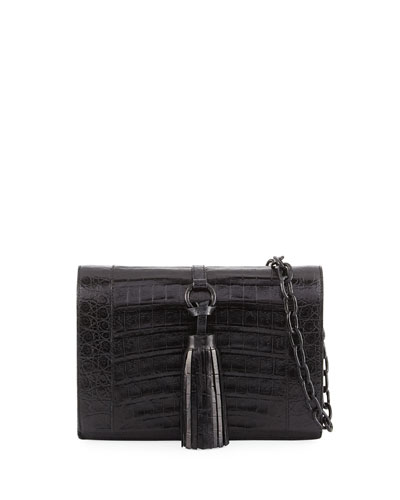 Small Tassel Crocodile Crossbody Bag