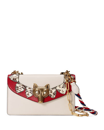Broche Leather & Snakeskin Shoulder Bag, White/Red