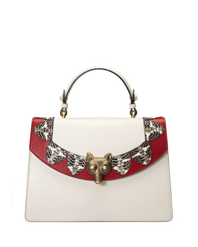 Broche Loved Top-Handle Satchel Bag, White/Red
