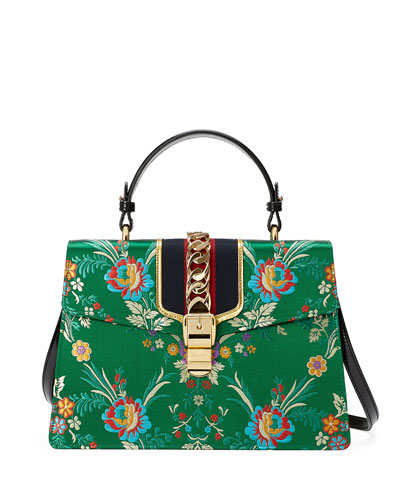 Sylvie Floral Jacquard Top-Handle Bag, Green/Multi