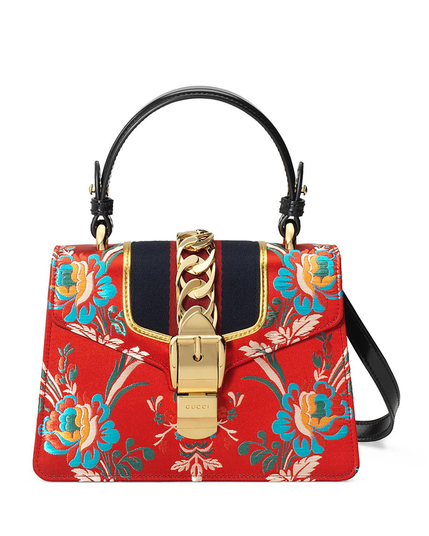 Sylvie Mini Brocade Top-Handle Bag