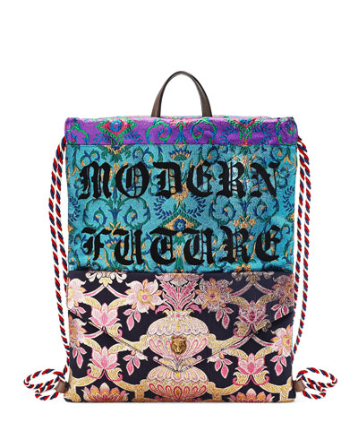 Modern Future Brocade Drawstring Backpack, Black/Blue