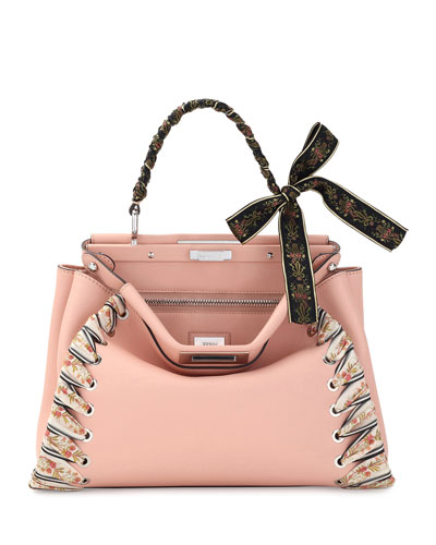 Peekaboo Medium Ribbon Whipstitch Satchel Bag, Light Pink