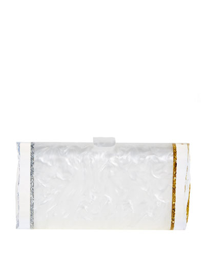 Lara Acrylic Backlit Ice Clutch Bag, Silvertone/Golden