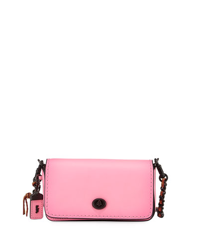 Dinkier Smooth Leather Shoulder Bag, Pink