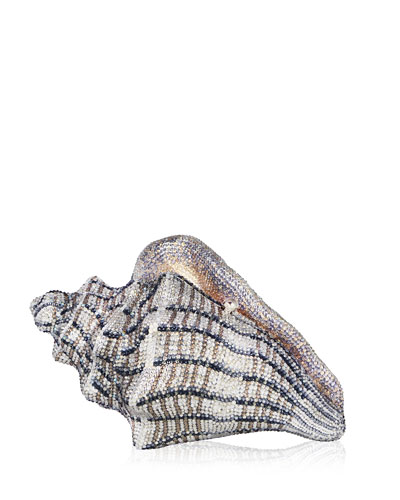Cubana Conch Shell Crystal Clutch Bag, Gold