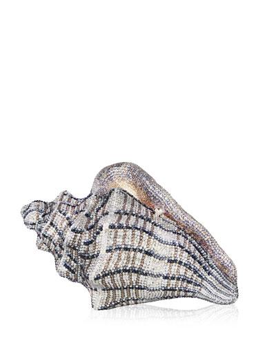 Cubana Conch Shell Crystal Clutch Bag, Gold