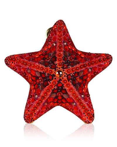 Fromia Starfish Crystal Clutch Bag, Red