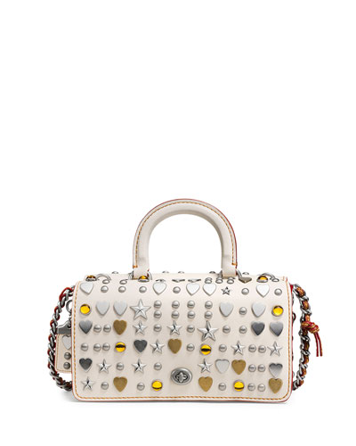 Dinky Double Studded Top-Handle Shoulder Bag, Cream