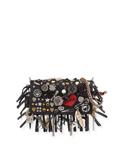 Dinkier Souvenir Charms Shoulder Bag, Black