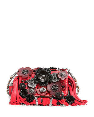 Dinky 15 Tea Rose Fringe Shoulder Bag, Red/Multi