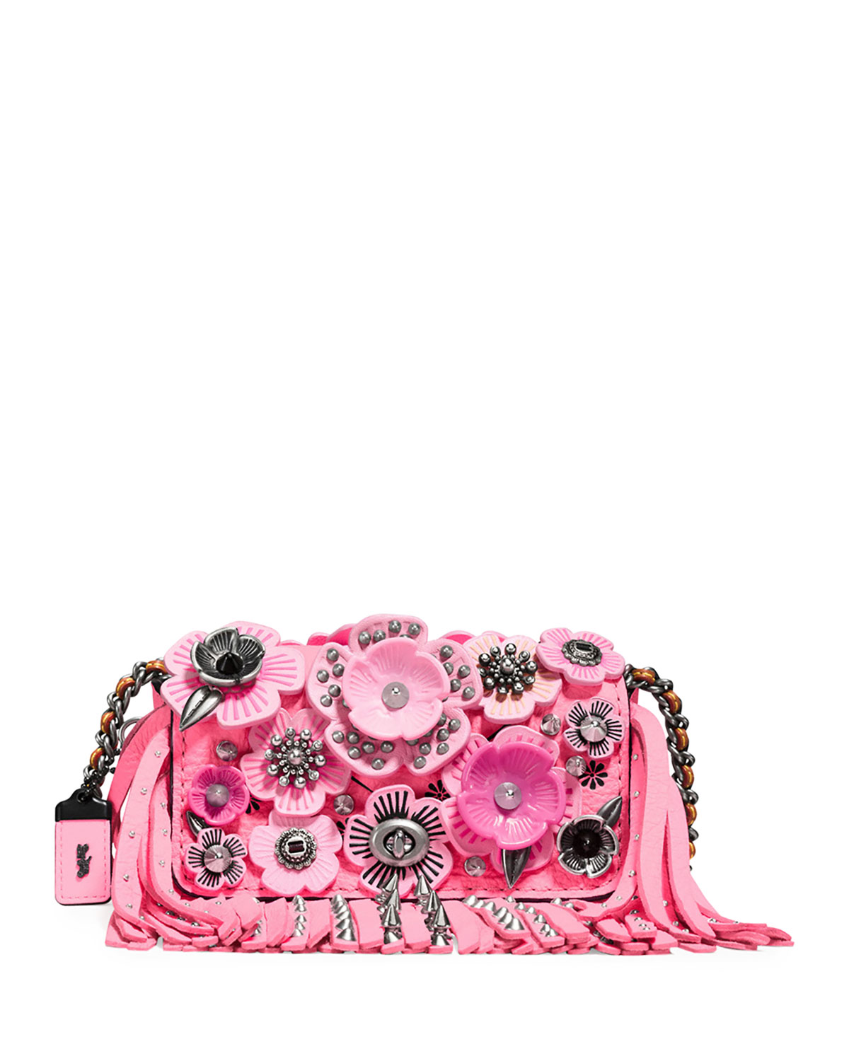 Dinky 15 Tea Rose Fringe Shoulder Bag, Pink/Multi