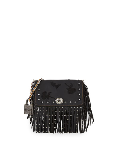 Dinky Floral Embroidery Fringe Shoulder Bag