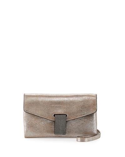 Metallic Leather Monili Clutch Bag/Wallet on Strap, Silver