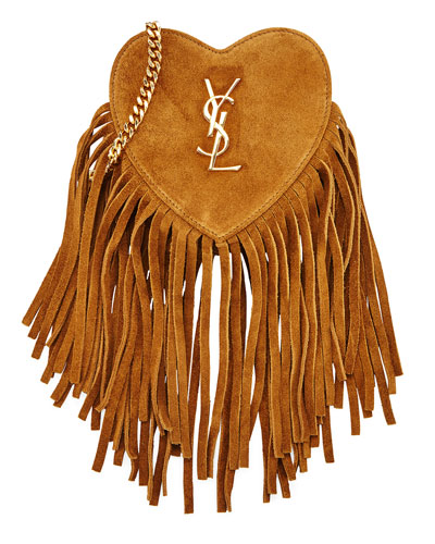 Monogram Small Zip-Top Fringe Heart Bag