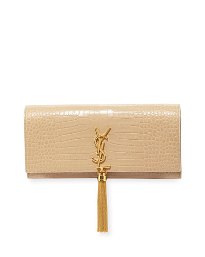 Crocodile-Embossed Clutch Bag, Powder
