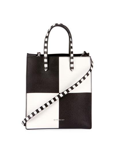Stargate Small Check Shopper Tote Bag, Black/White