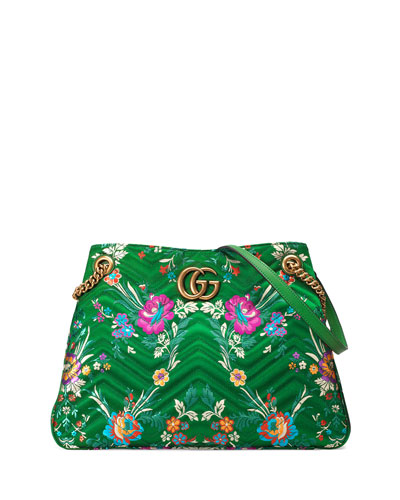 GG Marmont Matelassé Jacquard Shoulder Bag, Green Metallic