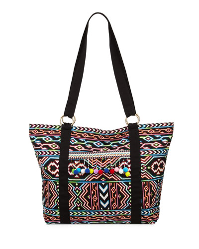 La Azteca Beach Tote Bag, Multicolor