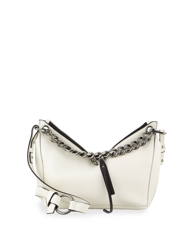 Raven Mini Napa Leather Hobo Bag, White