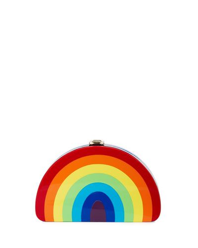 Girl's Rainbow Half-Moon Clutch Bag