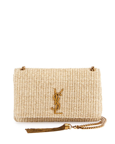 Kate Monogram Medium Raffia Chain Shoulder Bag, Neutral