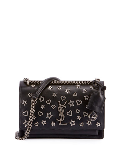 Sunset Medium Stars & Hearts Chain Shoulder Bag, Black