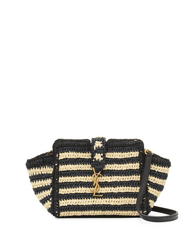 Striped Raffia Small Cabas Crossbody Bag, Neutral