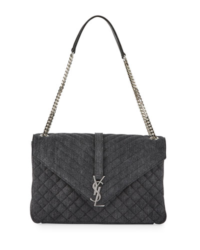 Sunset Large Denim Chain Shoulder Bag, Gray
