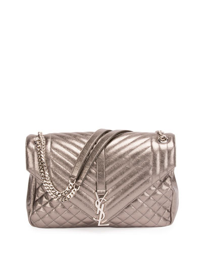 Loulou Monogram Large Chain Tri-Quilt Envelope Shoulder Bag, Gray