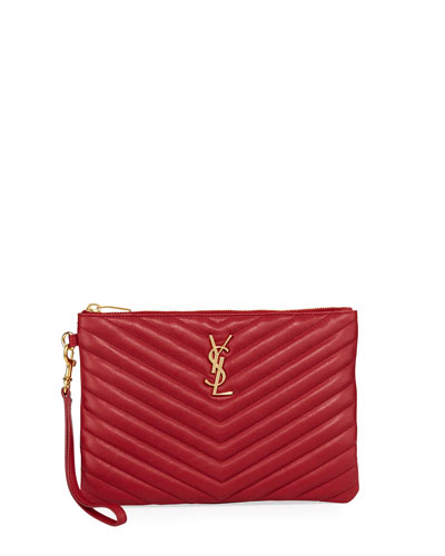 Monogram Quilted Pouch Wristlet Wallet, Red