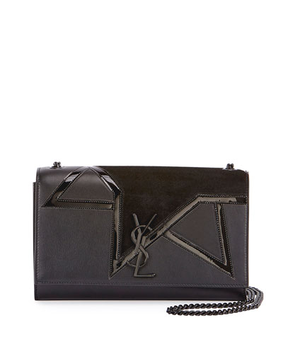 Kate Monogram Medium Suede Star Chain Shoulder Bag, Black