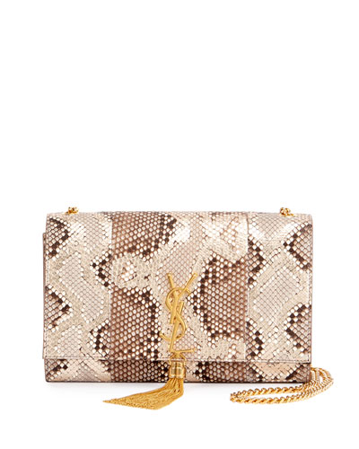 Kate Medium Monogram Tassel Python Flap Bag, Neutral/Multi