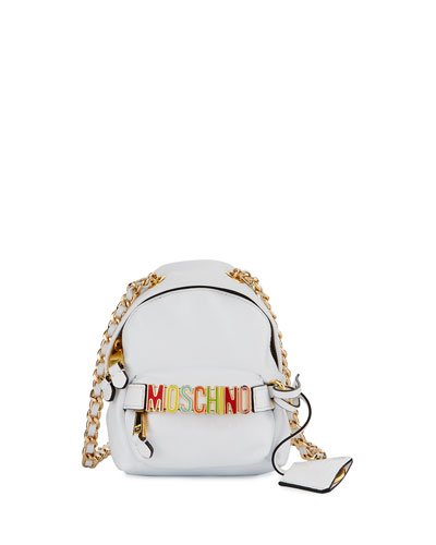 Mini Leather Backpack-Shaped Crossbody Bag, White/Multi