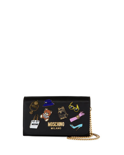Fashion Pins Leather Wallet-on-Chain, Black/Multi