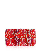 Coral Crystal Rectangle Clutch Bag, Red/Multi