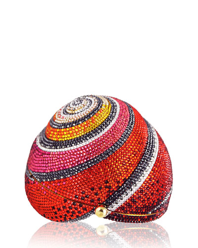 Polymita Snail Shell Crystal Clutch Bag, Red