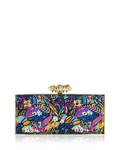 Sea Jungle Large Coffered Rectangle Clutch Bag, Multi