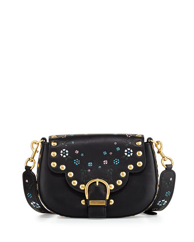 Navigator Floral Studded Flap Shoulder Bag, Black