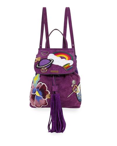 Patched Suede Tassel Backpack, Purple Rain