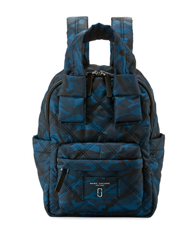 Nylon Knot Camo-Print Backpack, Navy