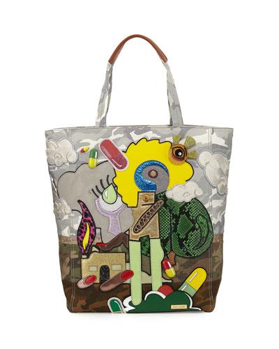x Julie Verhoeven Camo-Print Appliqué Tote Bag